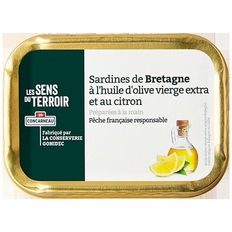 Sardines de Bretagne à l'huile d'olive vierge extra et au citron