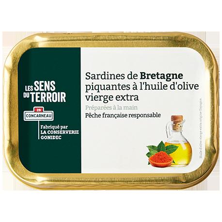 Sardines de Bretagne piquantes à l'huile d'olive vierge extra